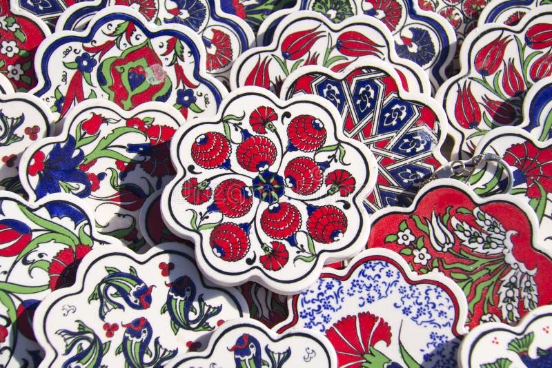 Forntida handgjorda mäktiga forntida handgjorda turktegelplattor för turk Tiles arkivfoto