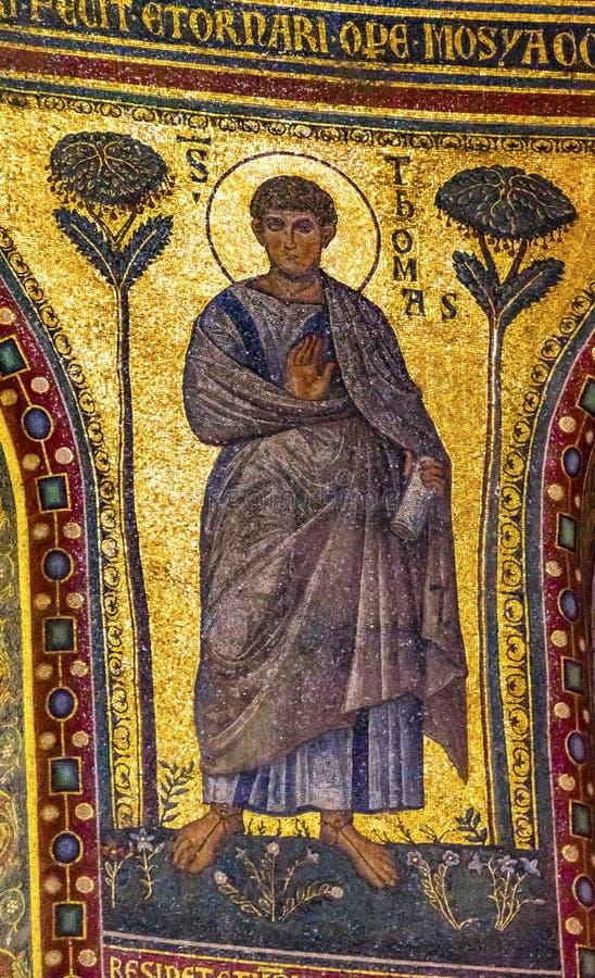 Forntida helgonThomas Mosaic Saint John Lateran domkyrka Rome Italien arkivbild