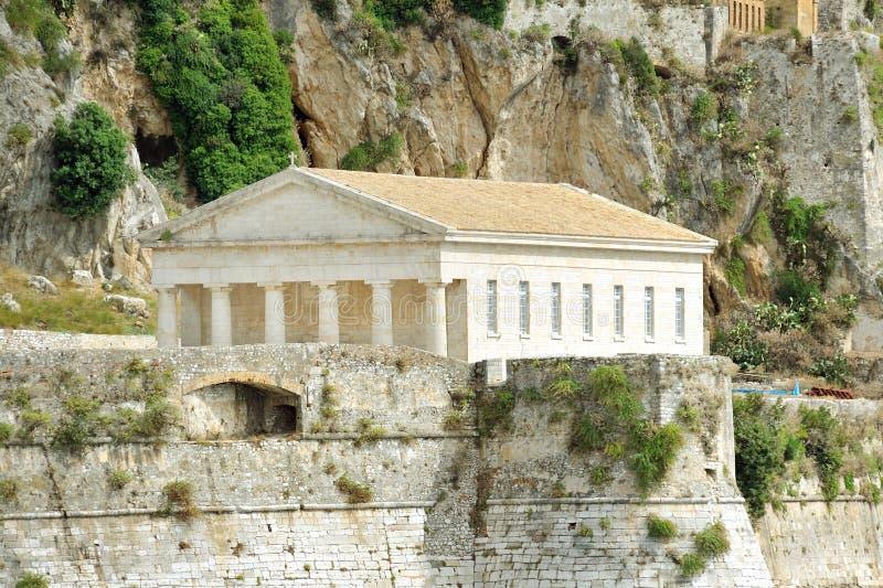 Forntida Hellenic tempel, Corfu arkivfoto