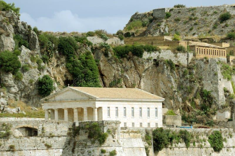 Forntida Hellenic tempel i Kerkira royaltyfri fotografi