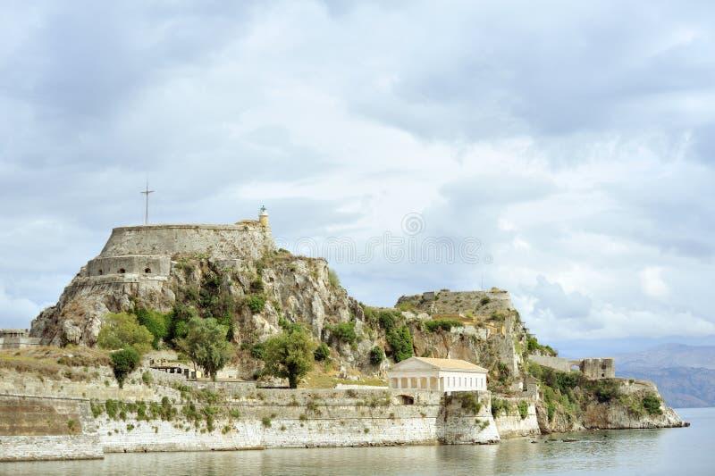 Forntida Hellenic tempel och fästning, Corfu arkivfoton