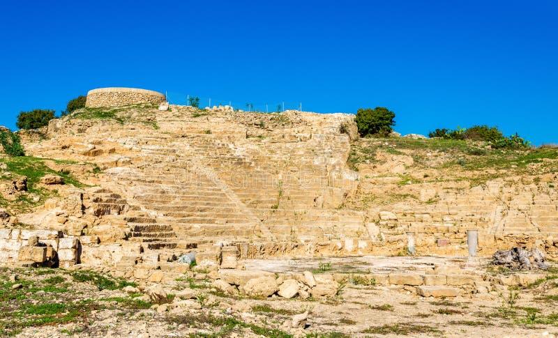 Forntida Hellenistic amfiteater i Paphos royaltyfria bilder