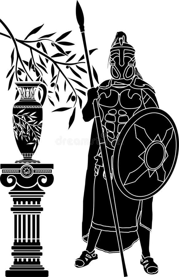 Forntida hellensk man stock illustrationer