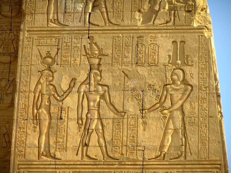 Forntida hieroglyfer på väggen av den Kom Ombo templet fotografering för bildbyråer