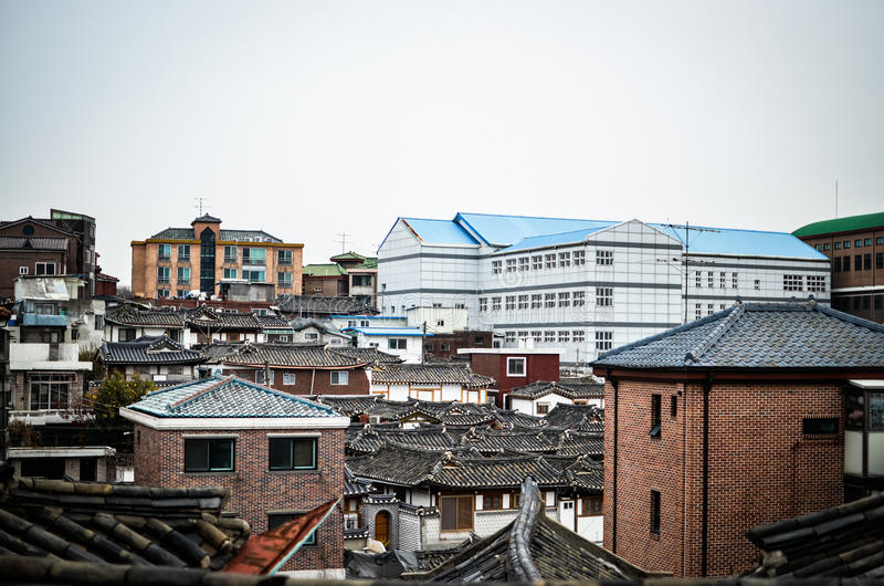 Forntida hus i Korea arkivfoto