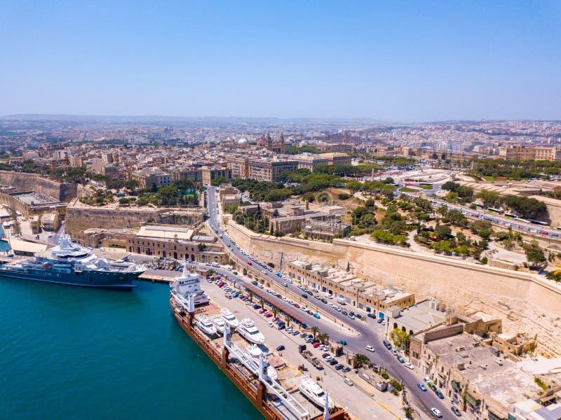 Forntida huvudstad av Valletta Malta fotografering för bildbyråer