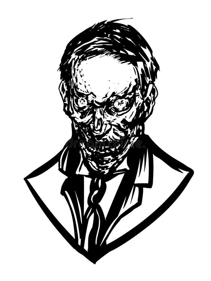 Forntida ilsken framsida för levande död` s vektor illustrationer