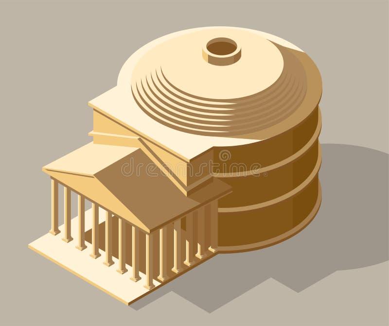 Forntida isometrisk illustration för vektor