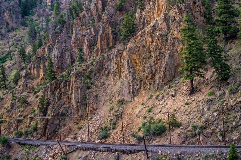 Forntida järnväg i Rocky Mountain, Colorado, USA anmärkning till redaktören: arkivbild
