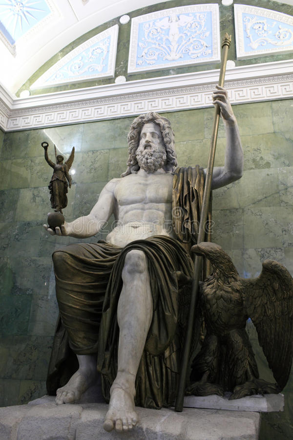forntida jupiter roman skulptur royaltyfri foto