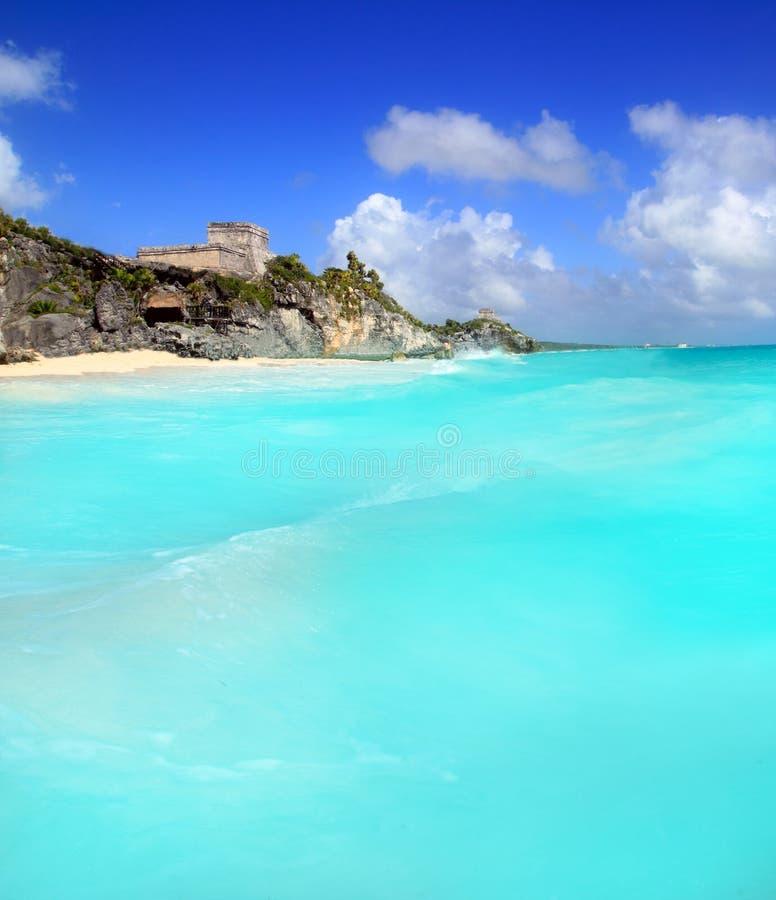 forntida karibiskt mayan fördärvar havstulumsikt arkivfoto
