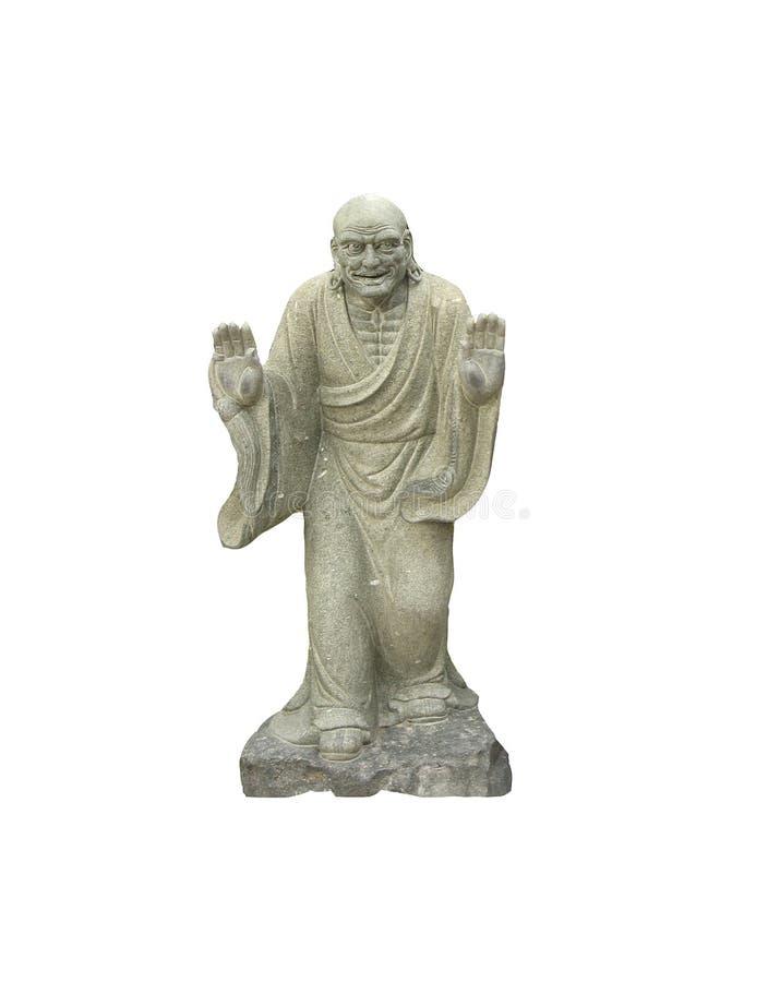 Forntida kinesisk buddistisk sculture som isoleras på vita bakgrunder arkivbilder