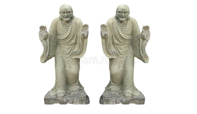 Forntida kinesisk buddistisk sculture som två isoleras på vita bakgrunder royaltyfri foto