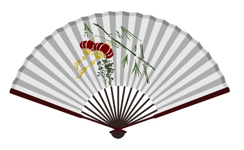 Forntida kinesisk fan med den traditionella lyktan royaltyfri illustrationer