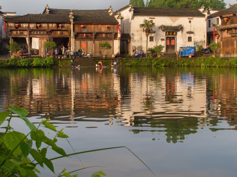 Forntida kinesisk by i södran Kina, Zhugecun arkivbilder