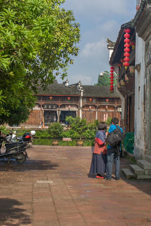 Forntida kinesisk by i södran Kina, Zhugecun royaltyfria foton