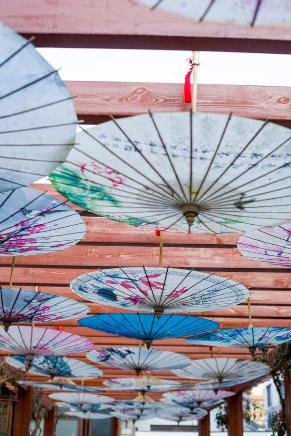 Forntida kinesiskt paraply arkivbild
