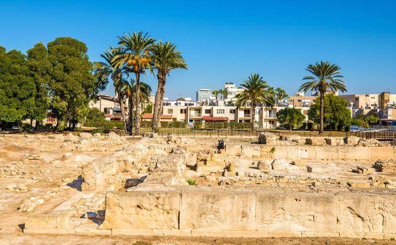 Forntida Kition, en arkeologisk plats i Larnaca royaltyfri foto