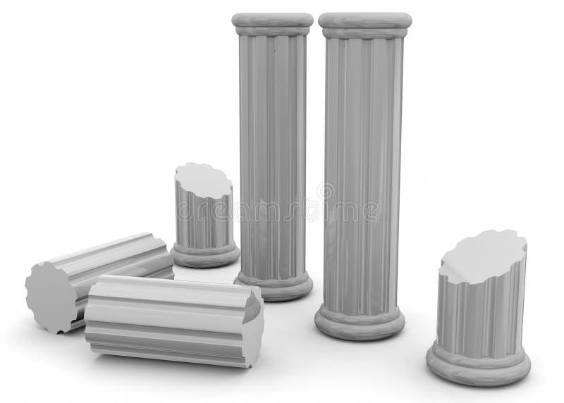 Forntida kolonner - 3D vektor illustrationer
