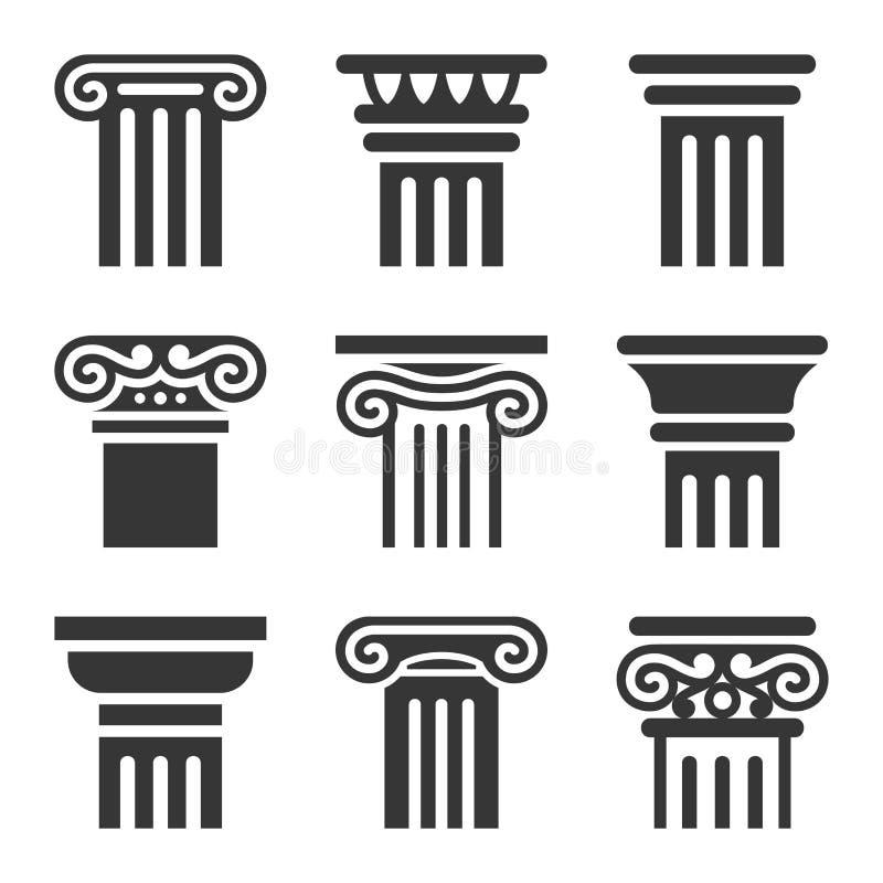 Forntida kolonnsymbolsuppsättning vektor stock illustrationer