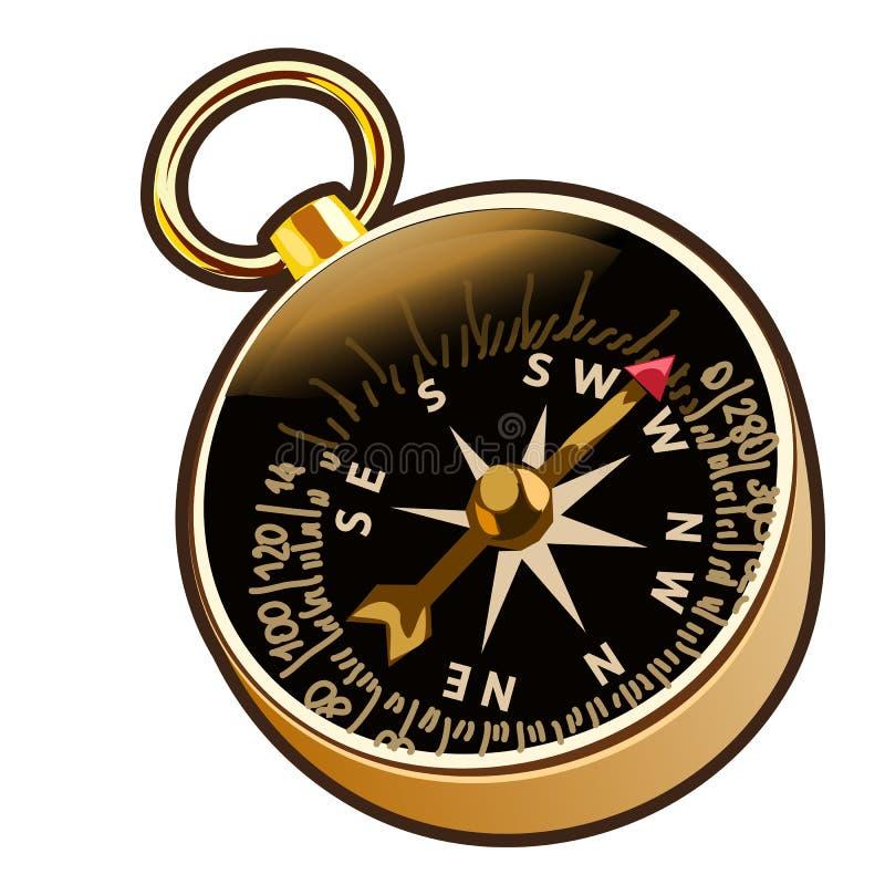 Forntida kompass för vektor i tecknad filmstil royaltyfri illustrationer