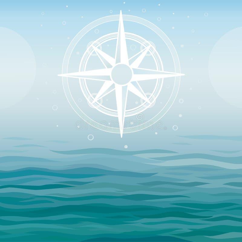 Forntida kompass på en havsbakgrund stock illustrationer