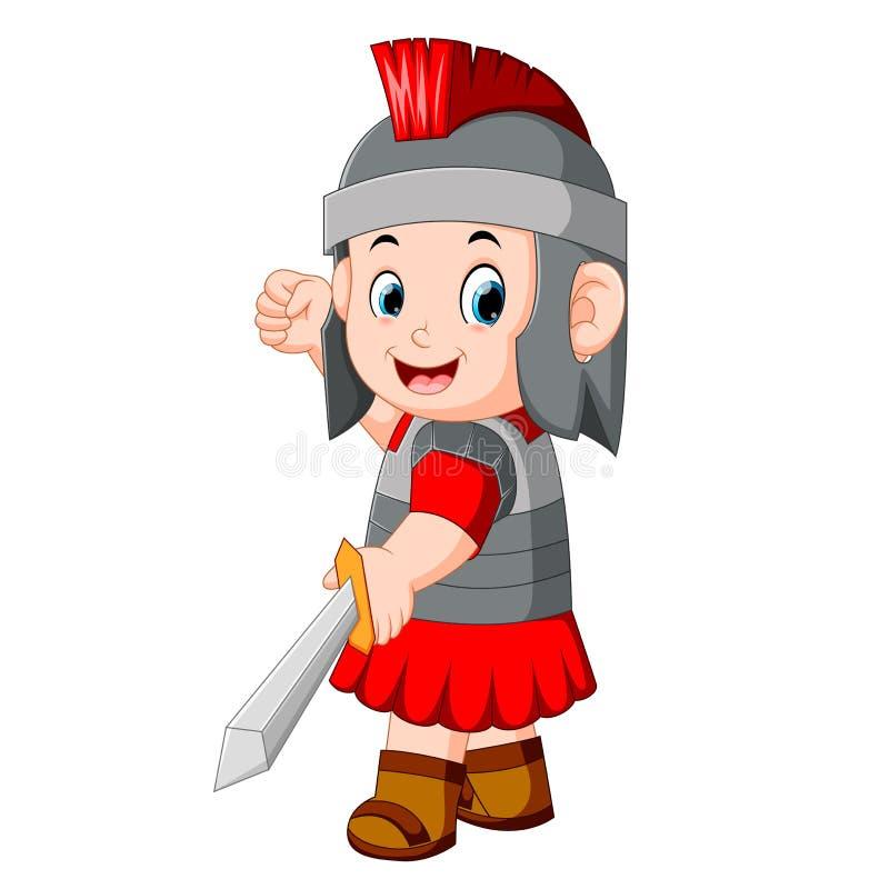 Forntida krigare eller gladiator som över poserar stock illustrationer