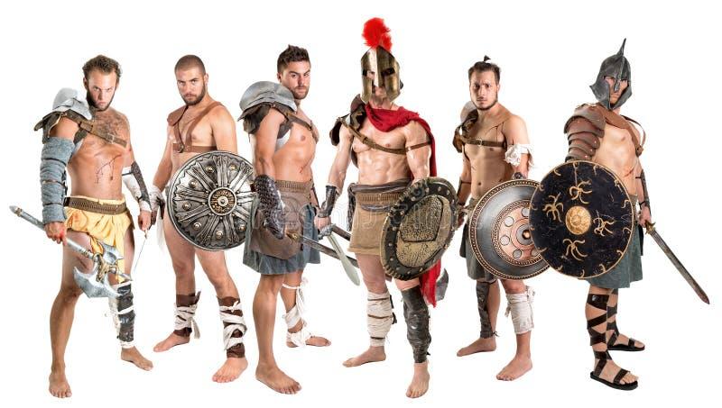 Forntida krigare/gladiatorer royaltyfria bilder