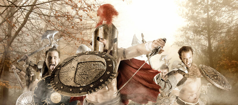 Forntida krigare/gladiatorer arkivfoton