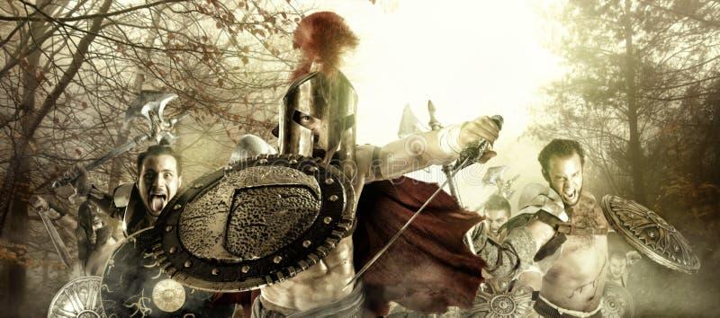 Forntida krigare/gladiatorer arkivbilder