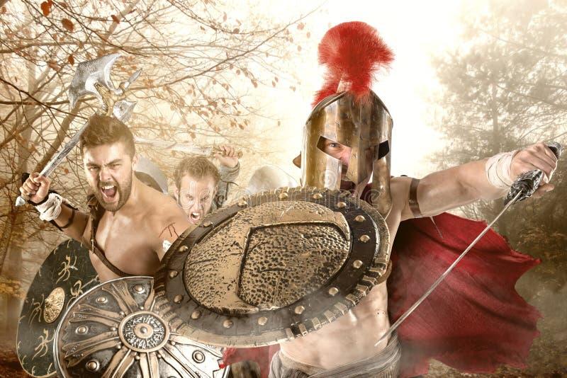 Forntida krigare/gladiatorer royaltyfria foton