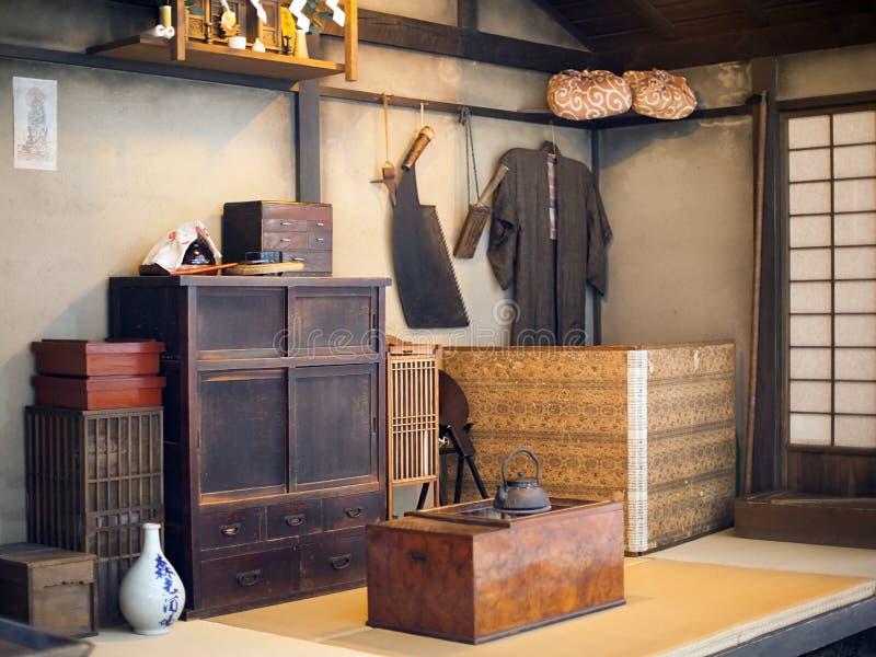 Forntida kulturföremål på Fukugawa Edo Museum, Tokyo, Japan arkivfoton