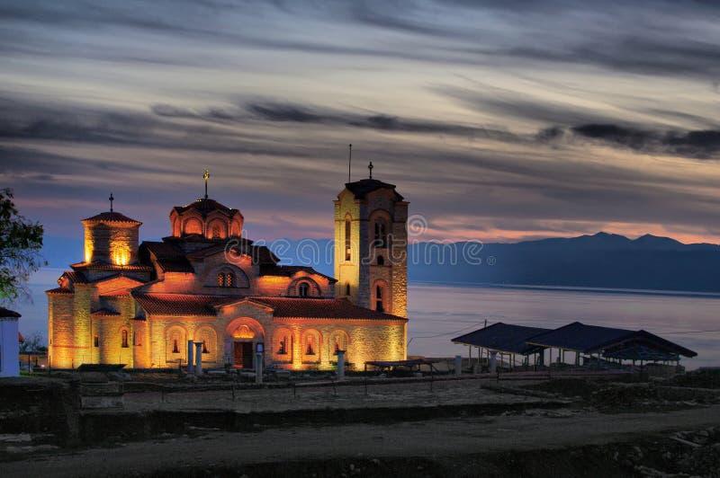 Forntida kyrkliga Plaosnik, Ohrid sjökust Makedonien, arkivbild