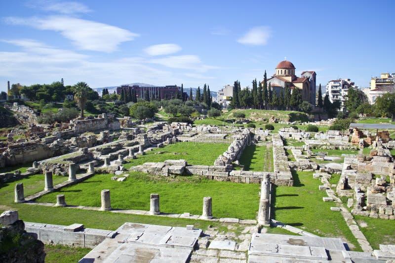 Forntida kyrkogård i Aten Kerameikos Grekland arkivbilder