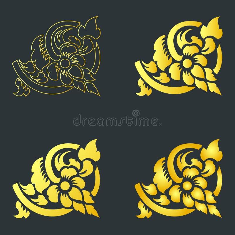 Forntida linje konst för Lanna Northern Thai konstmålning royaltyfri illustrationer