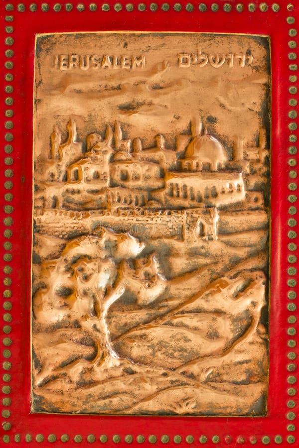 forntida mässingsjerusalem lättnad royaltyfri foto