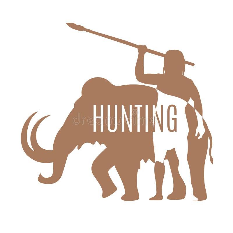 Forntida man som jagar den kolossala logomallen stock illustrationer