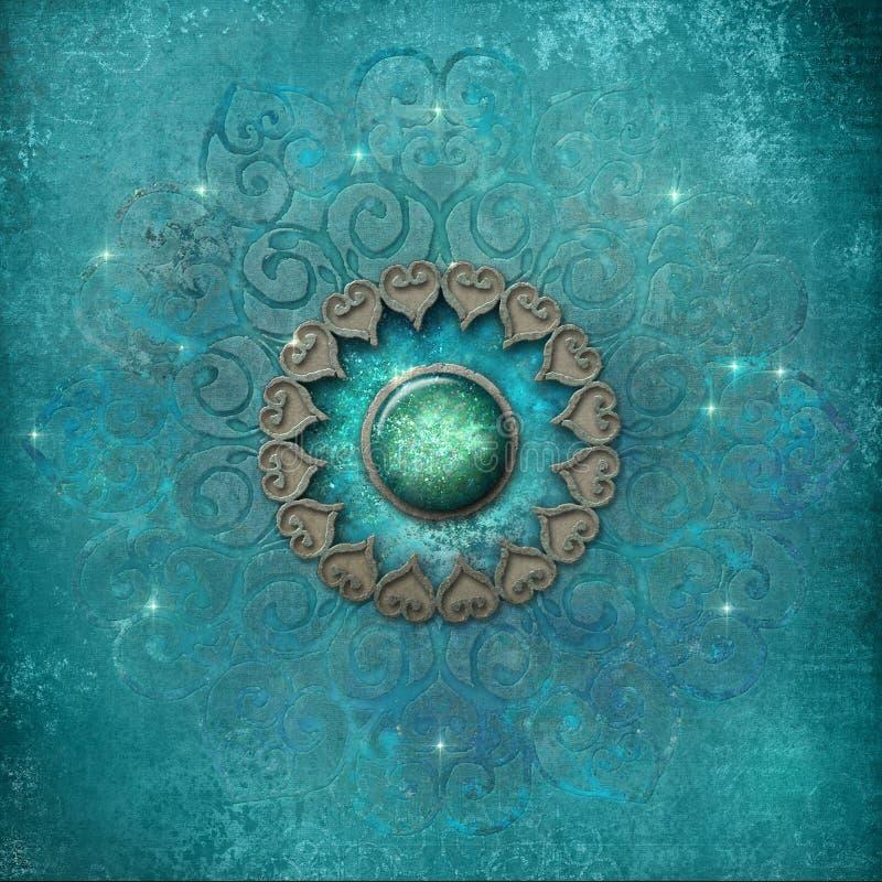 Forntida mandala i blått vektor illustrationer