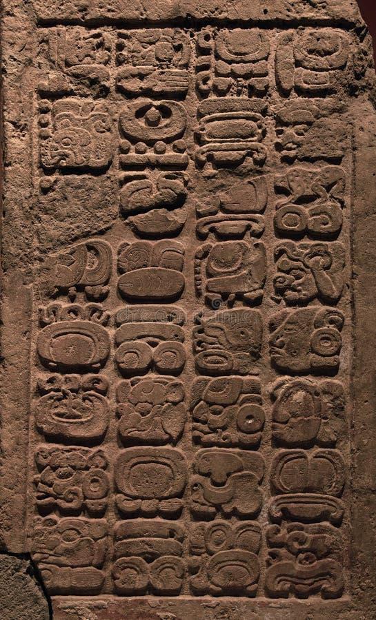 Forntida Mayan hieroglyphs arkivfoton