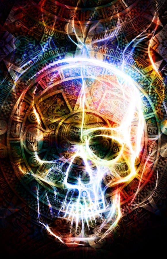 Forntida Mayan kalender och skalle, effekt för skallewirtbrand abstrakt bakgrundsfärg stock illustrationer