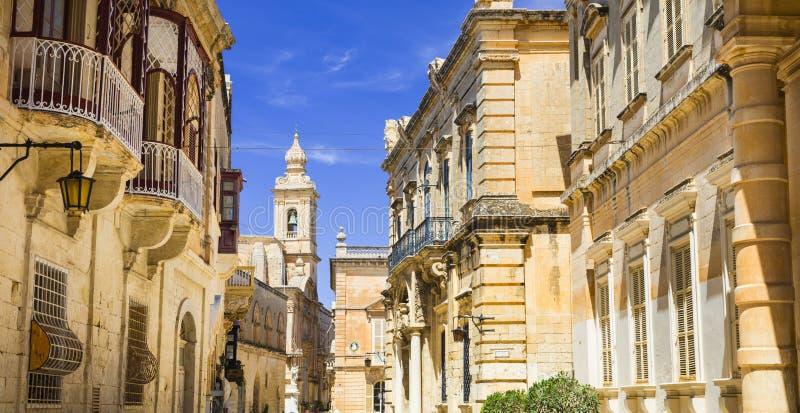 Forntida Mdina, Malta fotografering för bildbyråer