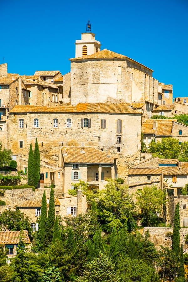 Forntida medeltida by av Gordes, Provence, Frankrike arkivbilder