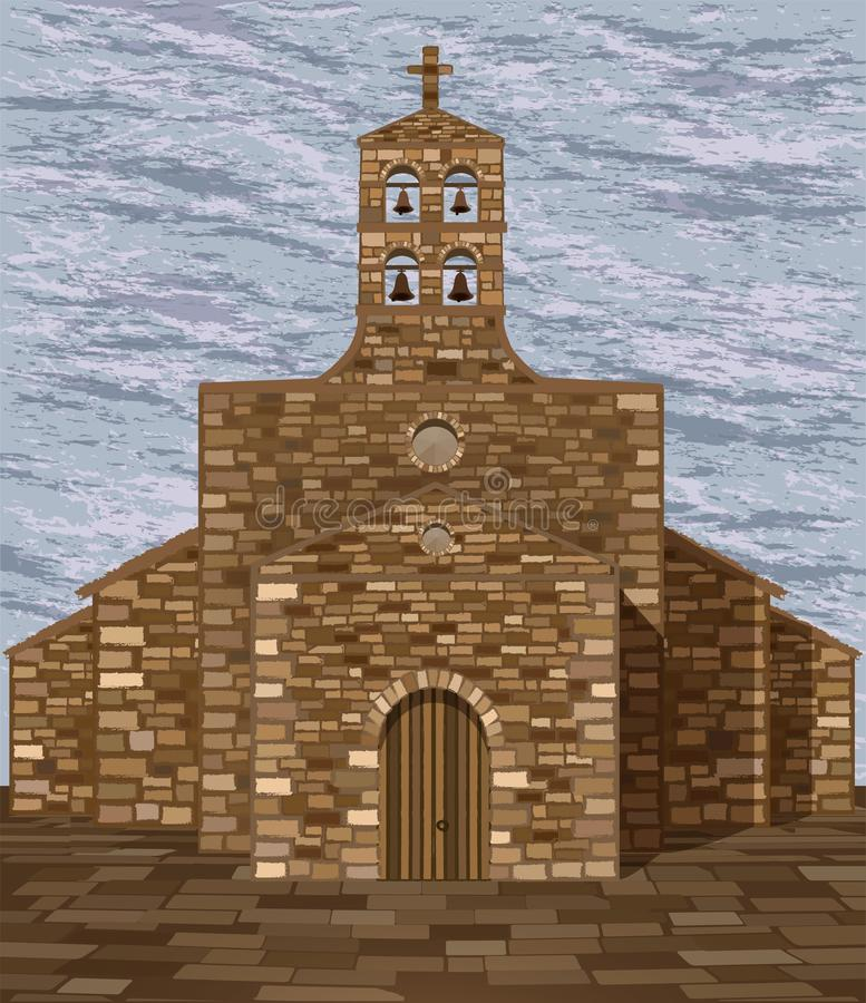Forntida medeltida spansk kyrka i romanesquestil med klockor, vektor royaltyfri illustrationer
