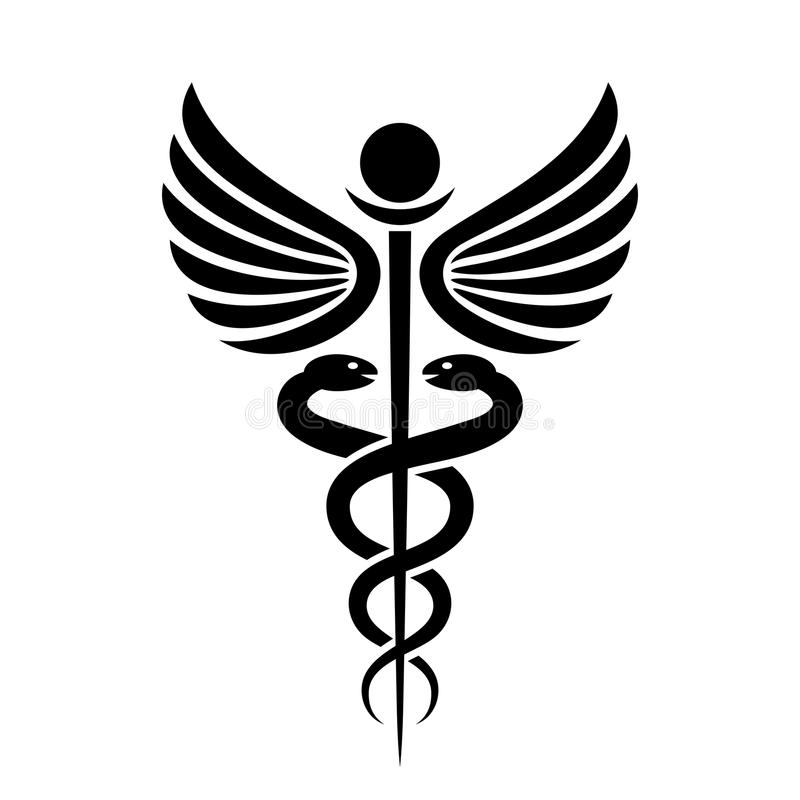 Forntida medicinsk symbolcaduceus stock illustrationer