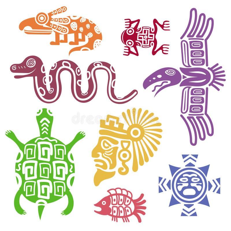 Forntida mexikansk symbolvektorillustration Mayan kulturindier med totemmodeller vektor illustrationer