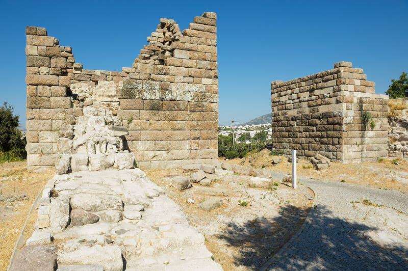 Forntida Myndos stenport i Bodrum, Turkiet arkivfoton