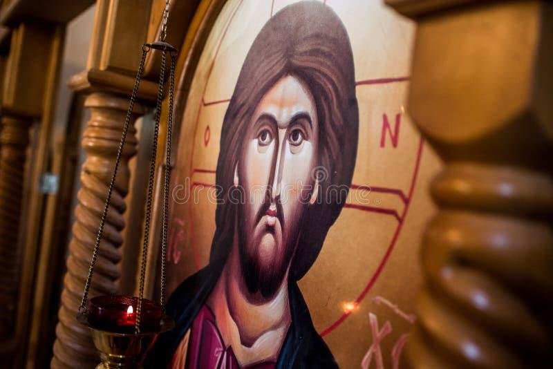 Forntida ortodox symbol som visar Jesus Christ arkivfoto