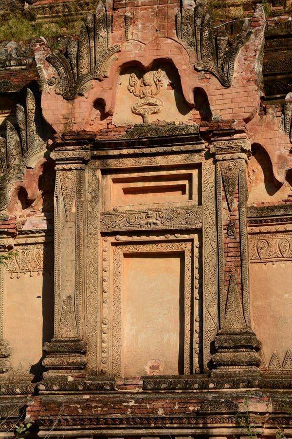 Forntida pagoddetalj Bagan Mandalay region myanmar royaltyfri fotografi