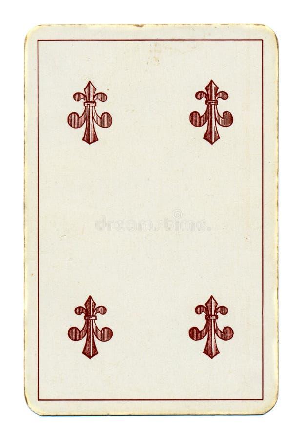 Forntida palying kort av klubbor royaltyfria foton