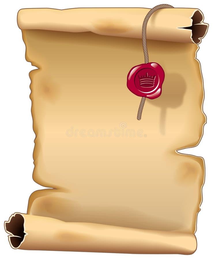 forntida parchmentscroll stock illustrationer